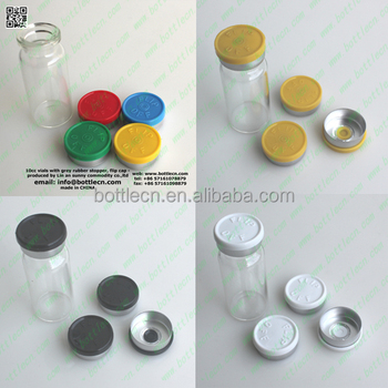 10ml glass vial 20mm flip off cap seals orange blue black gray green pink purple red white yellow