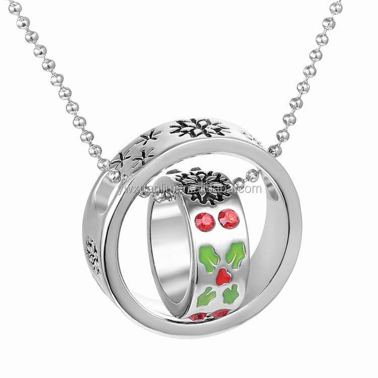 Latest design China Yiwu factory necklace round pendant necklace chain ring necklace