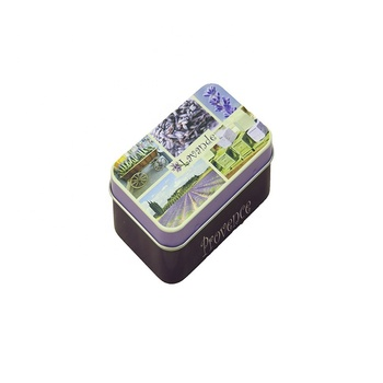 Tinplate square candy clamshell lavender metal tin box packaging flip iron box
