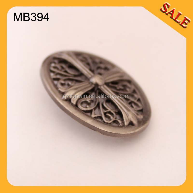 MB394 Deboss logo metal plate shiny gun metal label for handbag