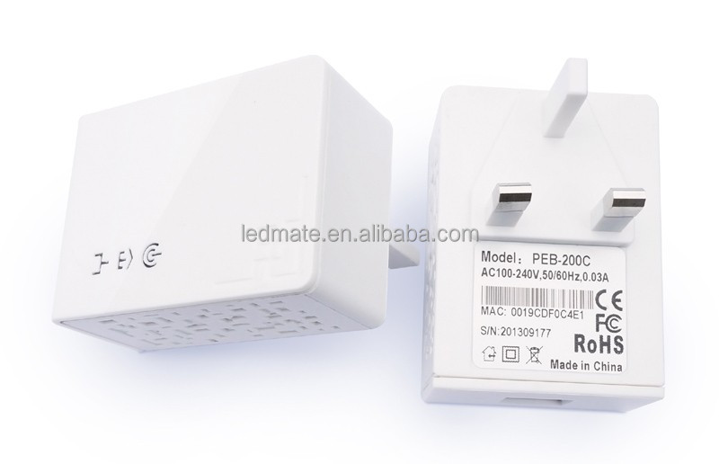 PLC 200Mbps Homeplug UK Wallmount power WIFI Ethernet Bridge Powerline Mini Adapter