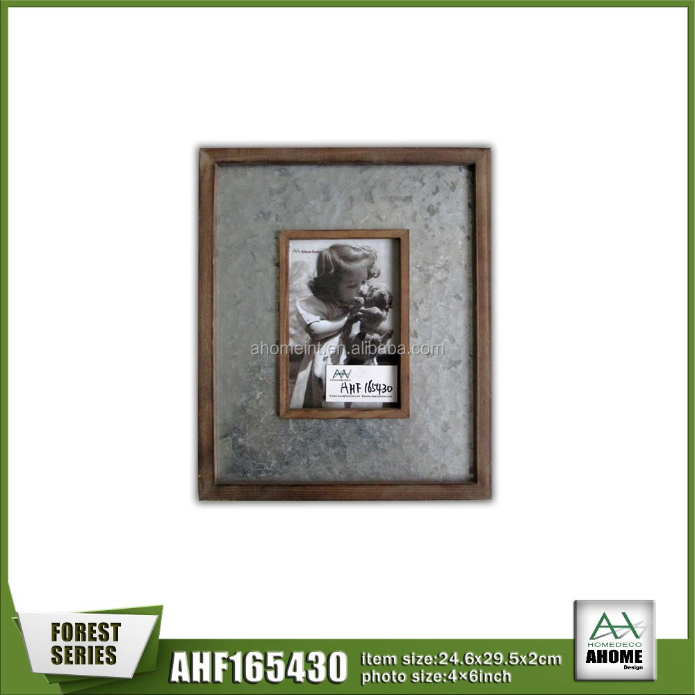 Galvanized Plate With Frame, Standing Wooden Photo Frame 4x6