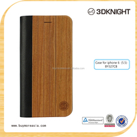 Wholesale wood grain universal PU leather mobile phone cover flip case wallet for phone 6plus