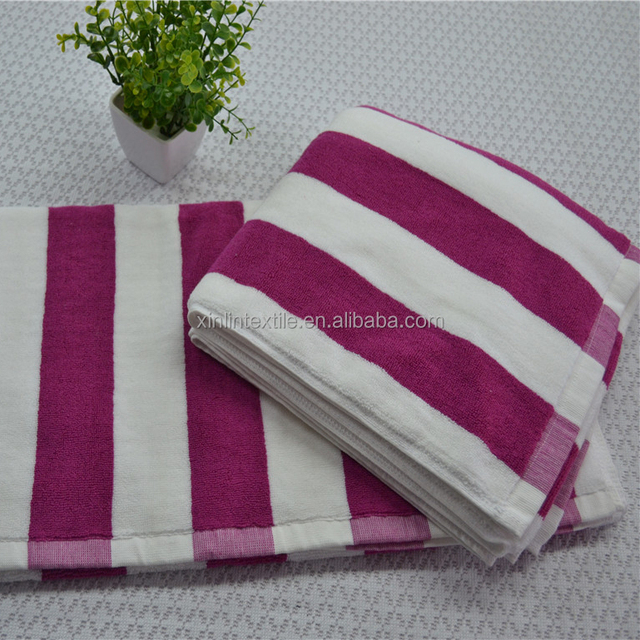 Wholesale 100%Cotton Yarn Dyed Striped Beach Towel Hotel Terry Bath Towels