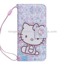 Purple Hello Kitty PU Leather Card Holder Wristlet Wallet Case For iPhone 5s 5c,Cute Mobile Phone Case For iPhone 5 5S
