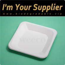 Compostable disposable food tray sugarcane square fiber pulp plate