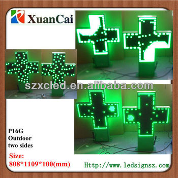 Waterproof Two sides P16 Green LED church signs