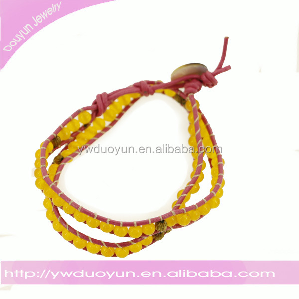 "Free 24"" citrine on red Leather Wrap Bracelet with Snap Button Lock"