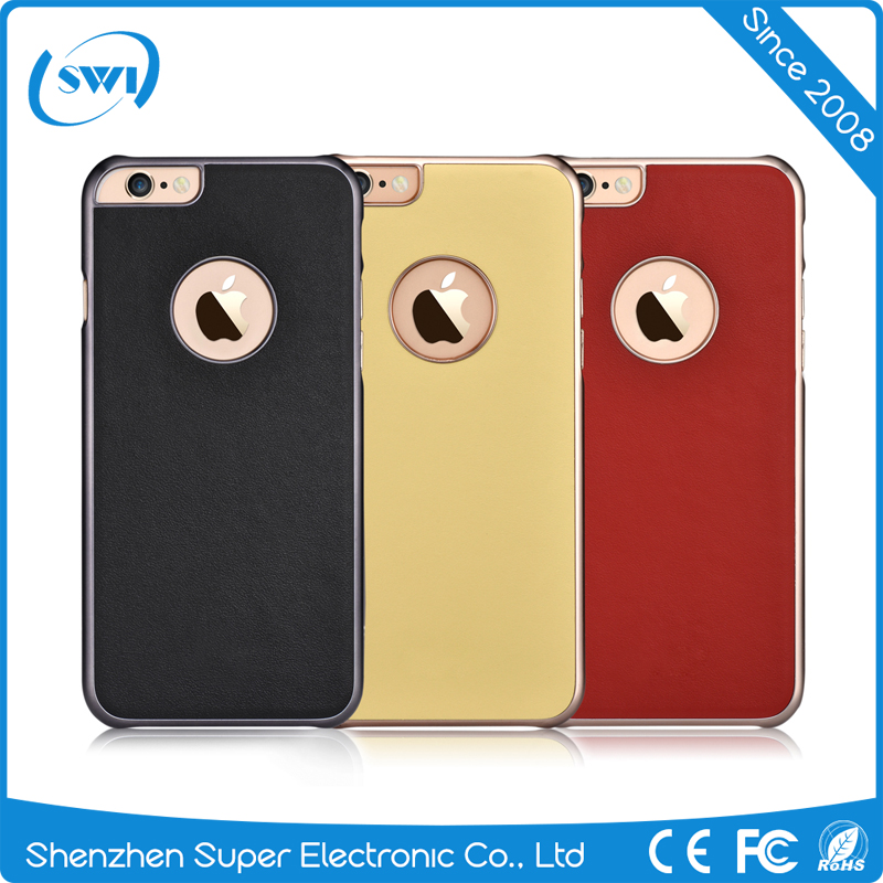 Italy Genuine Leather Cover Case Ultra Slim Electroplating Back Shell for iPhone 6/6s Plus