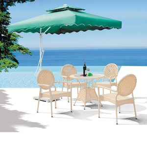 DH767 Aluminium wood patio furniture outdoor table and chair for restaurant garden dining set , water proof modern
