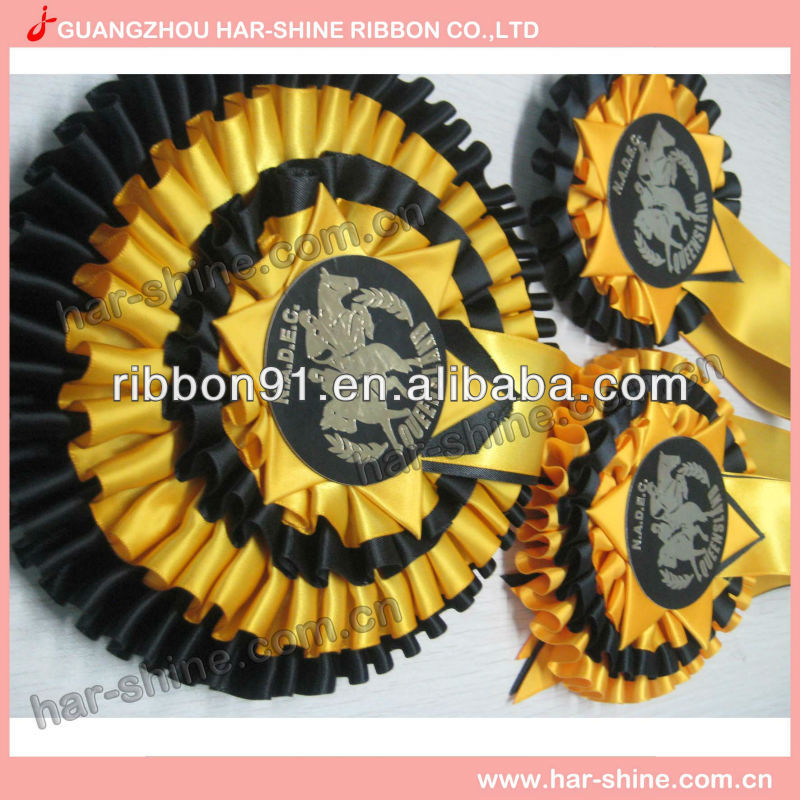Wholesale custom two layer ribbon award rosettes for horseracing