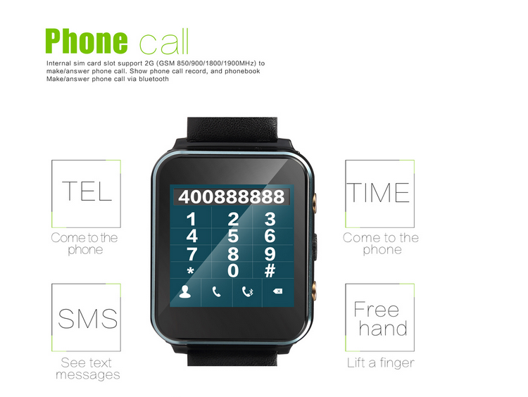 "android 4.4 u10 smart watch MTK6261A 1.54"" IPS touch screen sim support smartphone sync smart phone watch"