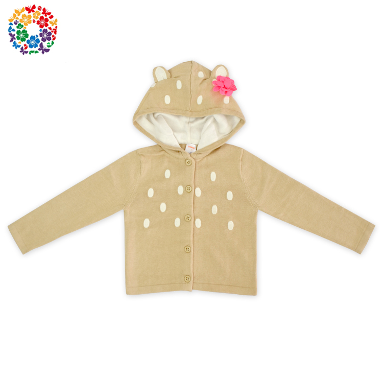 Lovely Kids Winter Clothing Cat Ear Hoodie Cardigan Long Sleeve Wool Sweater Design For Girl