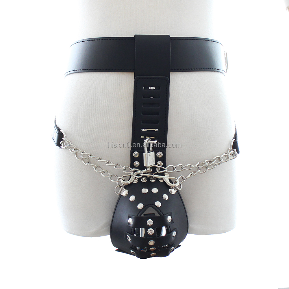 2016 New Bondage PU Leather Underwear Chastity Belt with Cock Cage Briefs Chastity Restraint for Male