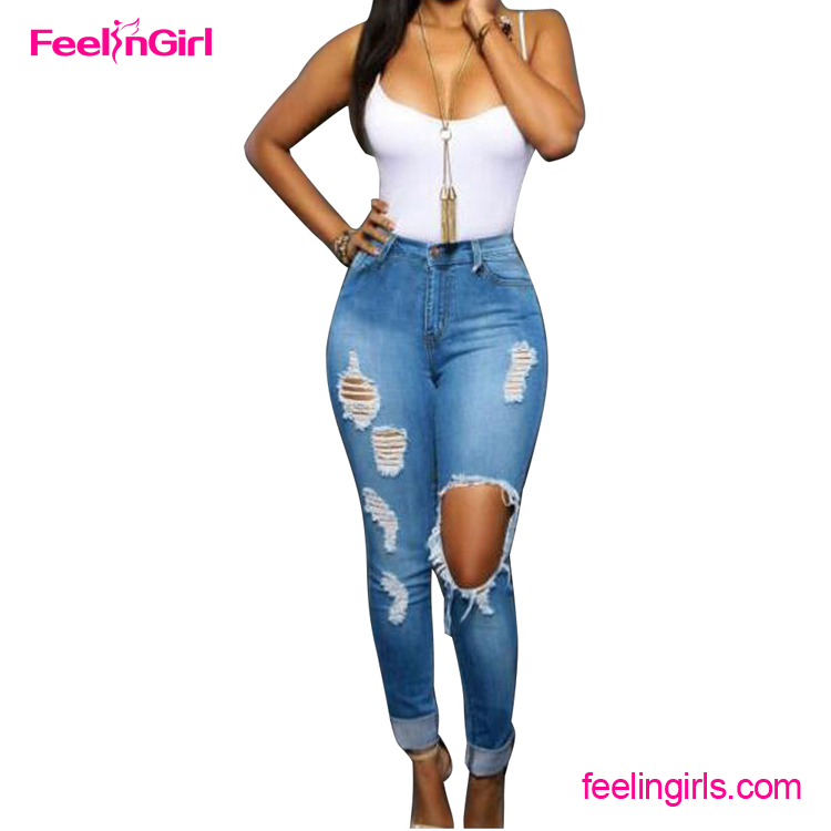 2016 wholesale china Blue Ripped New Model Jeans Women
