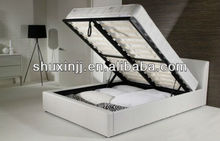 2014 modern home furniture white pu ottoman storage leather bed