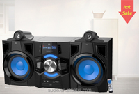 "New design 2.0 flashing light double 8"" subwoofer speaker box"
