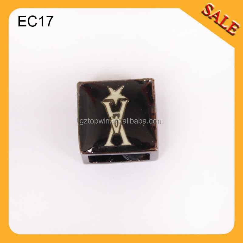 EC17 Square black Color Shape metal drawstring cord end stopper