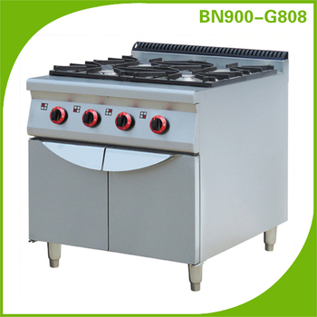 Heavy Duty Gas Range 4 burners with Cabinet/restaurant kitchen equipment BN900-G808