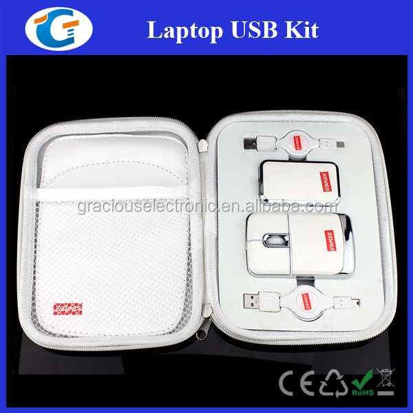 PU leather usb travel kit with computer mouse
