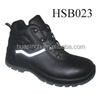 black embossed leather puncture resistant safety working shoes with white reflective strip