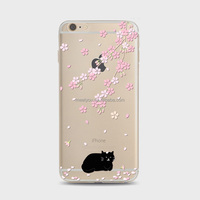 High quality TPU phone cases black cat with Sakura TPU cover Soft custom Phone Case For iPhone 5 5S 5se