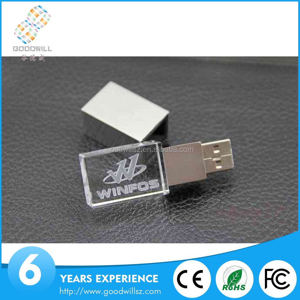 Wholesale Bulk Cheap Pen Drive With Led Light Custom Engrave Logo Usb Stick 128Mb/1/2/4/8/16Gb Glass Crystal Usb Flash Drive
