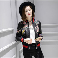 Latest Fashion Women real Leather Jacket Spring Autumn Women embroidery Jacket Cheap Lady