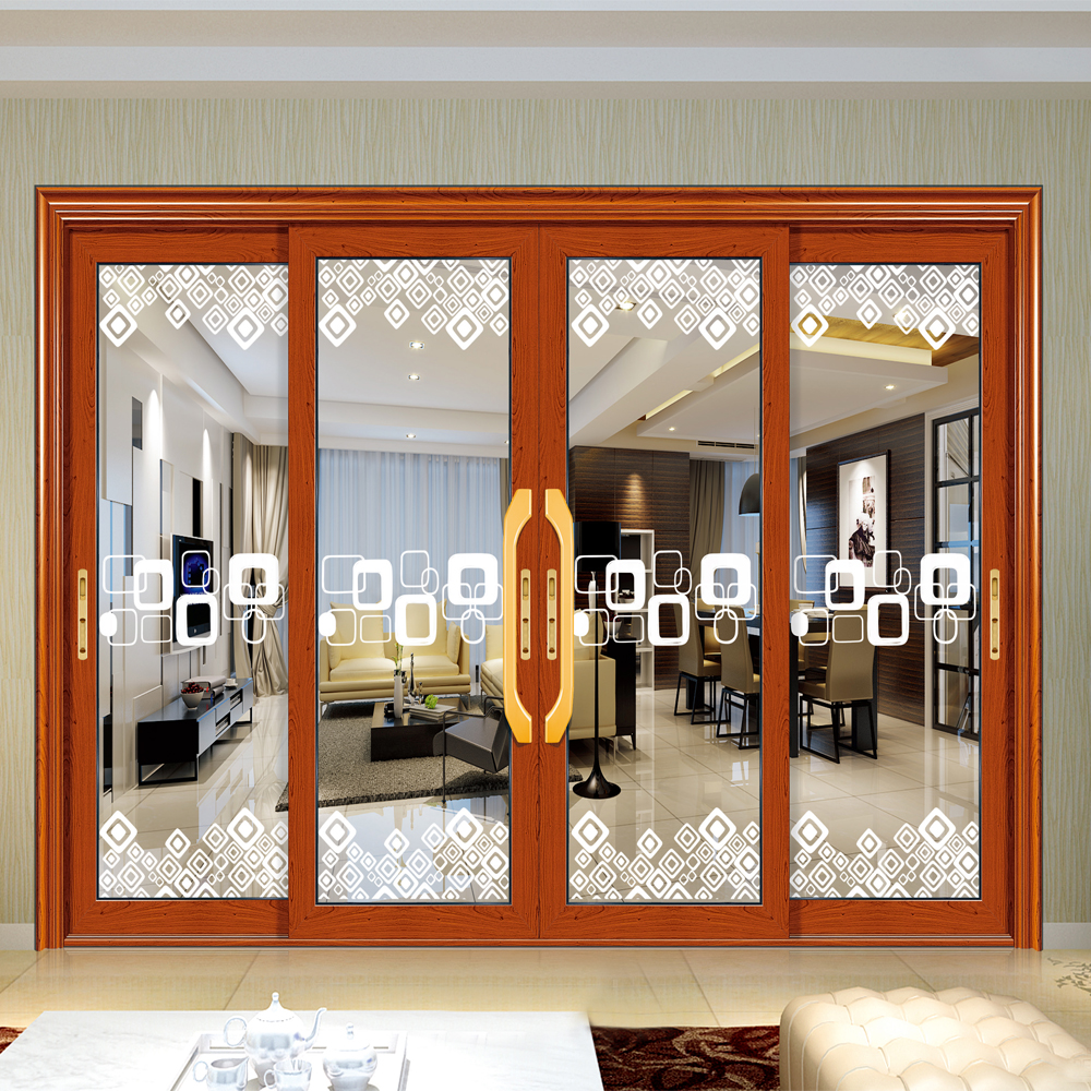 Hs Jy8030 Panel Sliding Door Interior Half Aluminum Glass Door Price