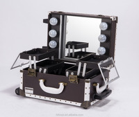 New Design Professional Trolley Makeup Case With Lighted Mirror