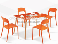 Chinese restaurant home furniture best price wooden dining table and plastic dining chair used dining room furniture for sale