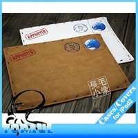 Retro PU Leather Postcard Pouch Protective Envelope Case for iPad 2/iPad3