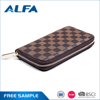 Alfa China Suppliers Custom Logo Zipper Around Long PU Leather Ladies Purse Wallet Women