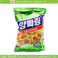 new design snack pouch, customized snack packaging bag, three sides sealed snack bag