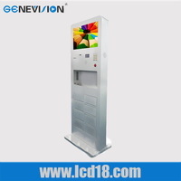 21.5 inch indoor mobile cell phone charging kiosk standing high brightness advertising display video player