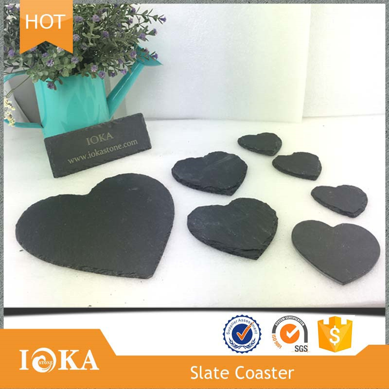 IOKA Stone Wholesale Heart Shaped Nature Black Slate Coaster