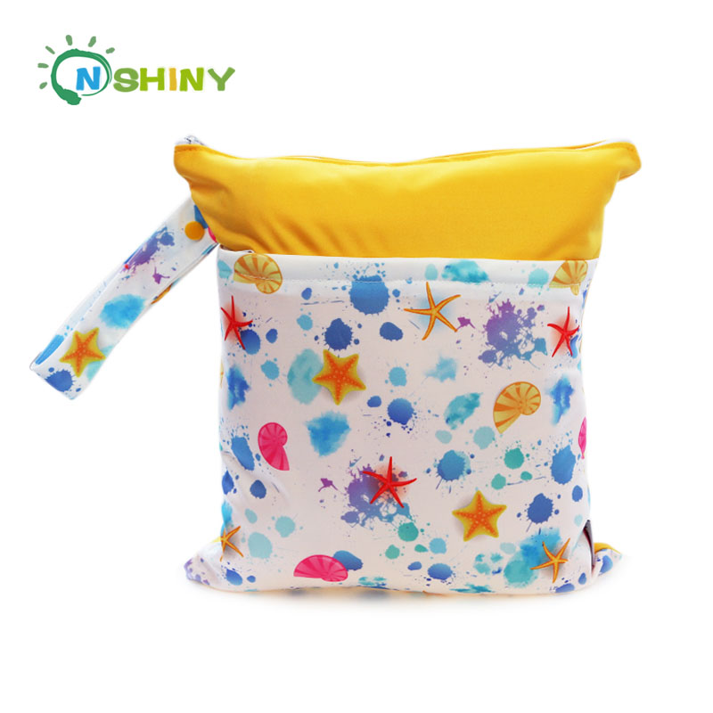 Starfish Design Travel Wet and Dry Cloth Diapers Wet Bags Waterproof Reusable with Two Zippered Pockets