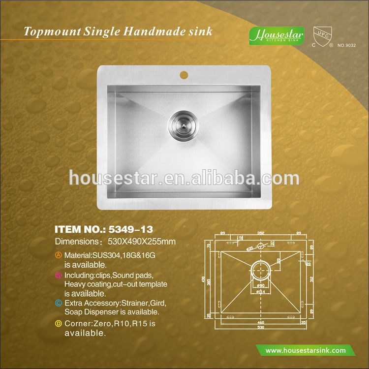 Handmade Stainless steel sink commercial kitchen equipment china for American and Canada - 5349-13
