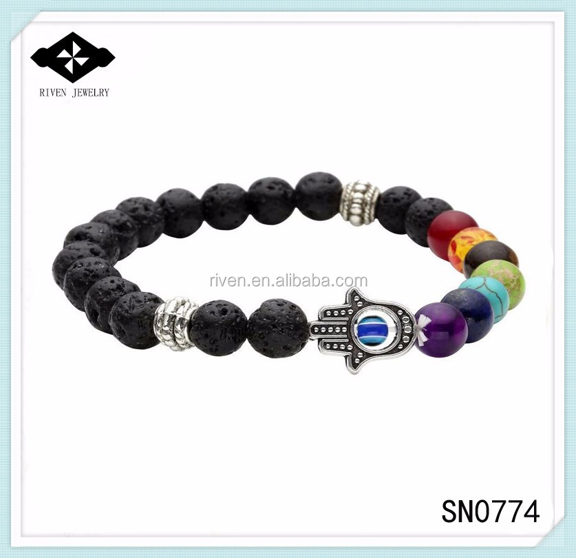 SN0774 Personal 7 Chakra Beaded Hamsa bracelet Men Black Laca rock bracelet with hand evil eye beaded jewelry Man Bracelets.jpg