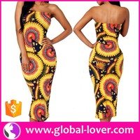 ladies one piece bodycon strapless floral printed thai traditional dresses