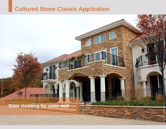 Natural slate decorative culture stone cladding for roof