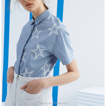 Latest cotton striped short sleeve star design ladies blouse collar design