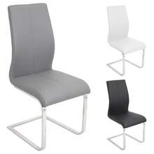 Wholesale grey upholstered faux leather chrome dining chair