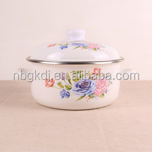Classic enamel casserole pot/white iron casserole enameled/Enamel pot flower cooker soup