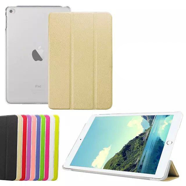 For ipad mini 4 case, 3 folding pu leather case for ipad mini 4, ultra thin back cover case