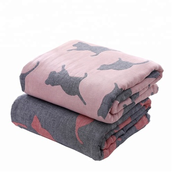 Alibaba wholesale Korean 100% cotton jacquard cat home bed blanket and sheet