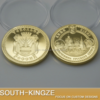 Folk art gold clad 3D engraving Russia attraction Kizhi Island coin for sale