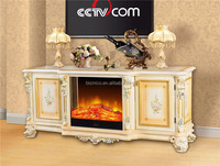 New Arrival French Style TV Stand Mutifuctional Eletric Fireplace, Electric Fireplace Cabinet with Elegant Hand Painting