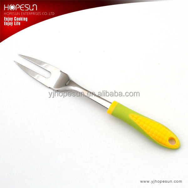 Popular food grade kitchen utensils stainless steel cooking fork with plastic handle