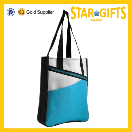 Stylish Unique Polyester Reversible Tote Bag For Tradeshow Promotion With Logo Printed